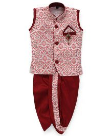 Kids Kcare Sleeveless Intense Design Kurta And Dhoti Set-Red
