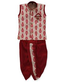 Kids Kcare Sleeveless Kurta With Leafe Print And Dhoti Set-Gold & Red