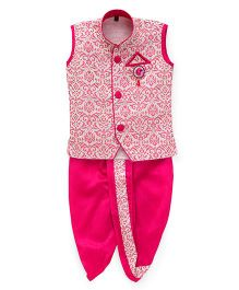 Kids Kcare Sleeveless Kurta And Dhoti Set-Pink