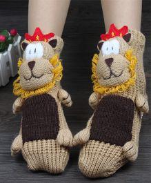 Tipy Tipy Tap Cartoon Non Skid Children 3D Floor Socks - Brown