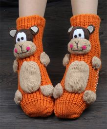 Tipy Tipy Tap Cartoon Non Skid Children 3D Floor Socks - Orange