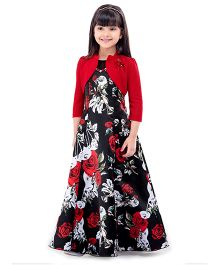 Tiny Baby Long Floral Gown With Jacket - Red & Black