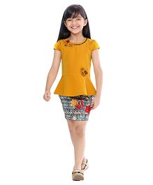 Tiny Baby Peplum Top With Skirt -Mustard