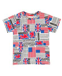 Raine And Jaine Flag Printed T-Shirt For Boys - Multicolor