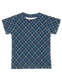 Raine And Jaine Plaid Printed T-Shirt For Boys - Navy Blue