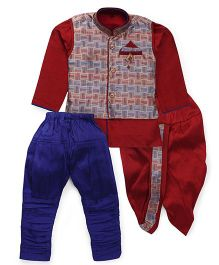 Kids Kcare Royal Ethnic Set With Broach - Maroon