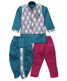 Kids Kcare Ethnic Set With Broach - Green