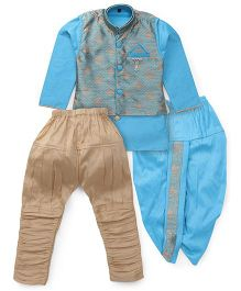 Kids Kcare Stylish Ethnic Set With Broach - Blue