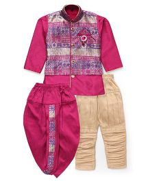 Kids Kcare Smart Ethnic Set With Broach - Pink