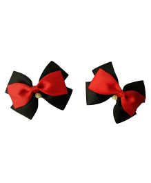 Keira's Pretties Stacked Bows Hair Clips - Red & Black