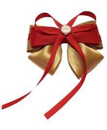 Keira's Pretties Designer Bow Aligator Clip - Golden & Red