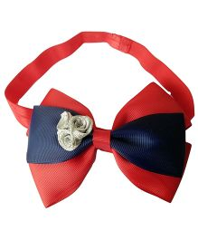 Keira's Pretties Bow With Silver Rosettes Shimmery Headband - Red & Navy Blue