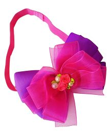 Keira's Pretties Pinwheel Bows With Beads And Rosettes Shimmery Headband - Pink