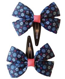 Keira's Pretties Floral Bow Snap Clip - Navy Blue