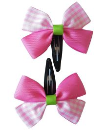Keira's Pretties Checkered Bow Snap Clip - Pink & White