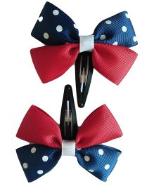 Keira's Pretties Polka Dot Bow Snap Clip - Red & Navy Blue