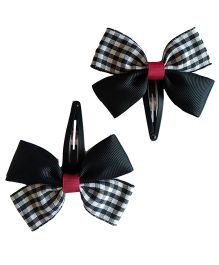 Keira's Pretties Checkered Bow Snap Clip - Black & White