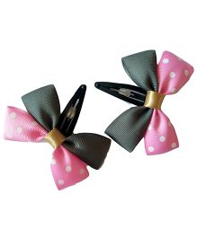 Keira's Pretties Polka Dots Bow Snap Clip - Grey & Pink