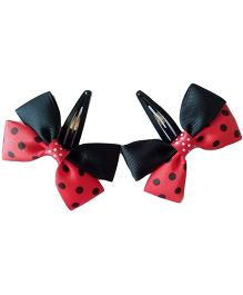 Keira's Pretties Polka Dots Bow Snap Clip - Red & Black