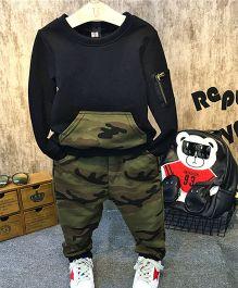 Petite Kids Zipped Sleeve Pullover & Pant Set - Black