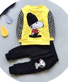 Petite Kids Patterned Sleeves Tee & Dog Applique Pant Set - Yellow & Blue