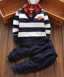 Petite Kids Stripes Tee Shirt & Pant Set - Blue & Red