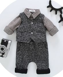 Petite Kids Shirt Waistcoat & Coat Set - Grey