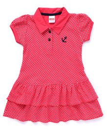 Babyhug Puff Sleeves Frock Dots Print - Pink