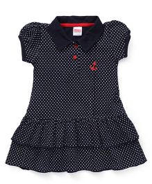 Babyhug Puff Sleeves Frock Dots Print - Dark Navy