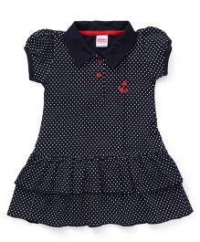 Babyhug Puff Sleeves Frock Dots Print - Dark Navy