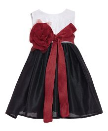 A Little Fable Sleeveless Party Wear Frock With Hat - Black & White