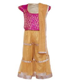 A Little Fable Sharara Blouse Dupatta Set - Pink Golden
