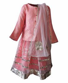 A Little Fable Full Sleeves Top Lehenga And Dupatta Set - Pink