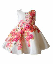 A Little Fable Sleeveless Floral Printed Party Frock - Off White