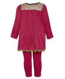 A Little Fable Full Sleeves Kurti Leggings Dupatta Set - Pink