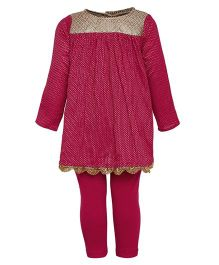 A Little Fable Full Sleeves Kurti Leggings Dupatta Set - Pink