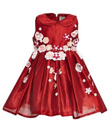 A Little Fable Sleeveless Peter Pan Collar Party Frock - Red