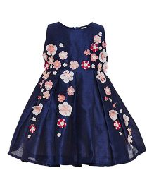 A Little Fable Sleeveless Floral Printed Party Frock - Navy