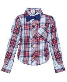 A Little Fable Full Sleeves Check Shirt With Bow - Multi Color