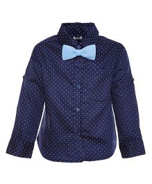 A Little Fable Full Sleeves Dotted Shirt With Bow - Blue