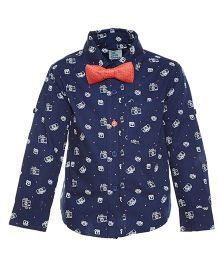 A Little Fable Full Sleeves Printed Shirt With Bow - Dark Blue