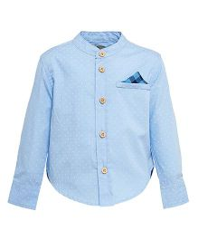 A Little Fable Full Sleeves Dotted Mandarin Collar Shirt - Blue