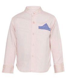 A Little Fable Full Sleeves Mandarin Collar Shirt - Light Pink