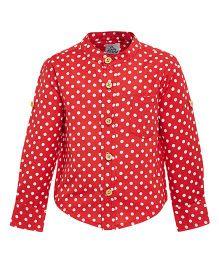 A Little Fable Mandarin Collar Dotted Shirt - Red