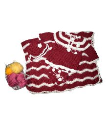 GoCuddle By Jasleen Stylish Flower Applique Crochet Dress Set With Blanket - Maroon & White
