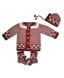 GoCuddle By Jasleen Striped Baba Suit - Rust Red & White