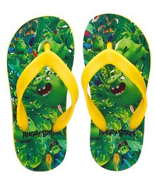 Kidsmojo Angry Birds Flip Flops For Boys - Green & Yellow