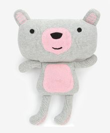 Pluchi Zoey - The Teddy Knitted Toy Light Grey & Pink - 20 cm