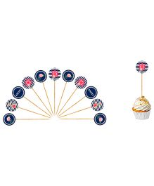 The Joy FactoryNautical Floral Let's Celebrate Cupcake Toppers - Navy Blue & Red