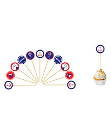 The Joy Factory  Nautical Birthday Cupcake Toppers - Multicolour